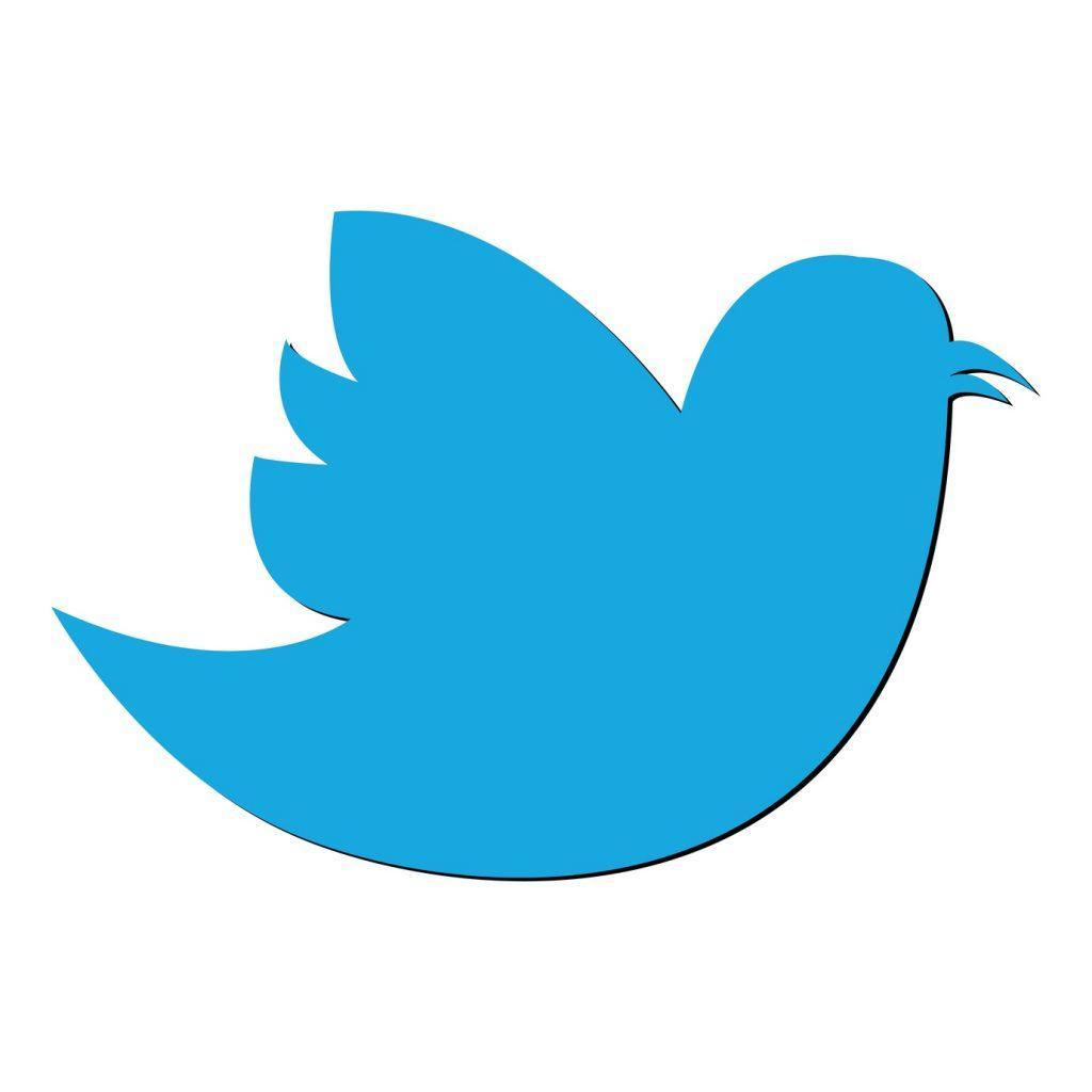 Social Bird icon on background. Modern flat twitter pictogram, b