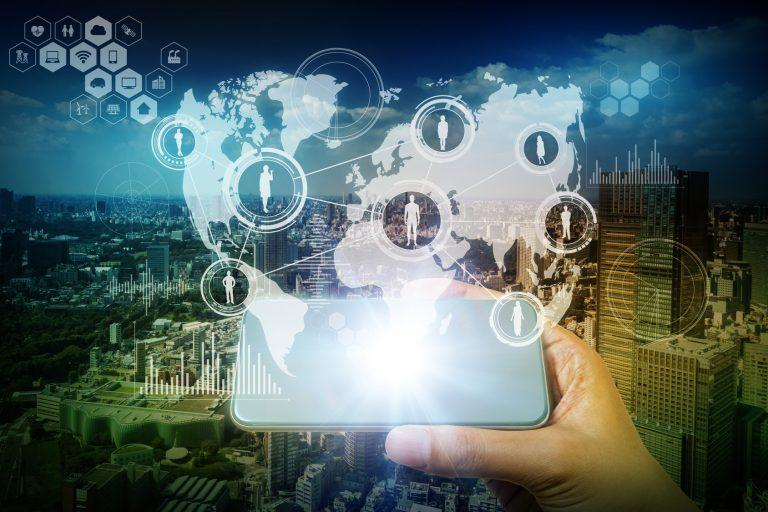 worldwide communication network concept, modern cityscape and smart phone, abstract image visual