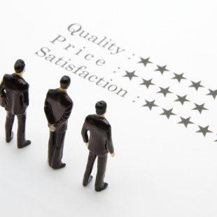 品質と価格と満足度のイメージ