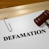 Render illustration of Defamation title on Legal Documents